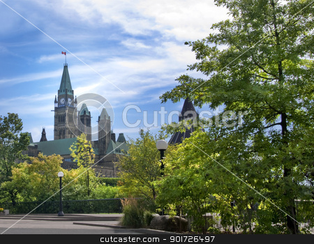 Parliament Buildings stock photo, The Canadian Parliament buildings view from Major's Hill park in Ottawa. by Michel Loiselle