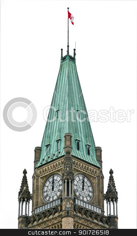 Political Clock stock photo, The Canadian Parliament at noon on a white background. by Michel Loiselle