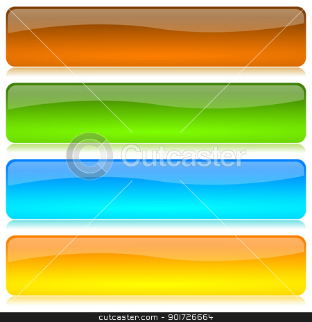 Colored bar set stock photo, Colored and glossy bar set with reflection on white background illustration by make