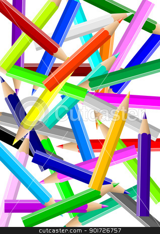 Colorful pencils chaos backgound stock photo, Disordered colorful pencils chaos backgound illustration by make