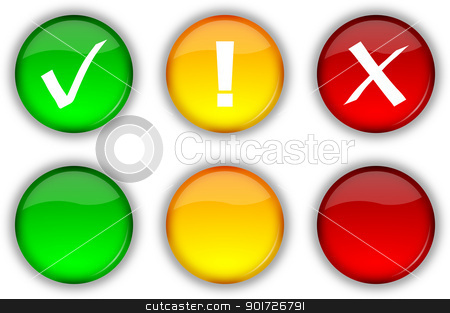 Web security buttons and icons stock photo, Glossy web security icons and empty buttons set by make