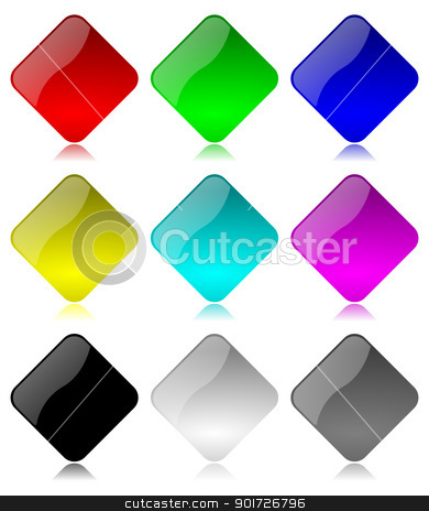 Colored and glossy rhombus buttons set stock photo, Colored and glossy rhombus buttons set with reflection on white background illustration by make