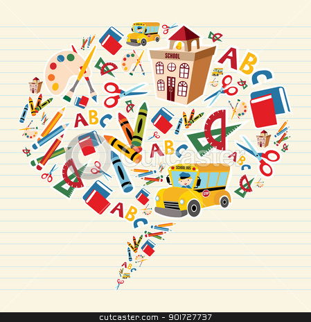 Back to school supplies in bubble shape stock vector clipart, Set of school tools and Supplies composition in social bubble. Vector file layered for easy manipulation and custom coloring. by Cienpies Design