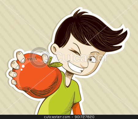 Cartoon boy with red apple stock vector clipart, Healthy food, cartoon teenager boy with red apple. Vector file layered for easy manipulation and custom coloring. by Cienpies Design