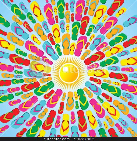 c48dfae4ca46 Multicolor Flip flops summer splash stock vector