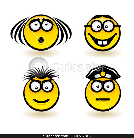 Cartoon faces stock photo, Cartoon faces. Set of second. Illustration of designer on white background by dvarg
