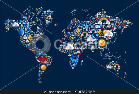 Weather icons set on map world shape stock vector clipart, Set Weather icons in Earth world map over blue background. Vector file layered for easy manipulation and custom coloring. by Cienpies Design