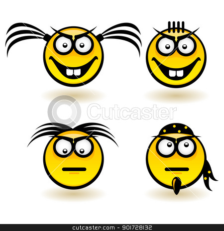Cartoon faces stock photo, Cartoon faces. Set of first. Illustration of designer on white background by dvarg