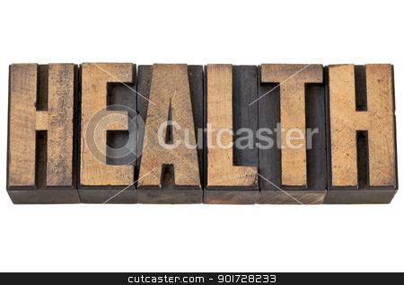health word in letterpress wood type stock photo, health - isolated text in vintage letterpress wood type by Marek Uliasz