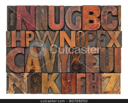 antique lettepress wood type alphabet stock photo, random alphabet letters - vintage letterpress wood type, different size and style of fonts with ink patina by Marek Uliasz