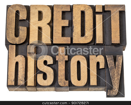 credit history text in wood type stock photo, credit history - finance concept  - isolated text in vintage letterpress wood type by Marek Uliasz