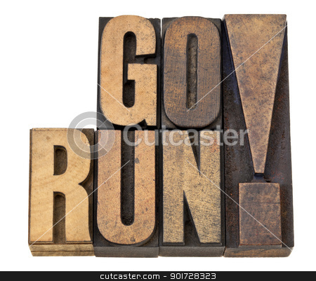 go run in letterpress wood type stock photo, go run exclamation - fitness concept - isolated text in letterpress wood type by Marek Uliasz