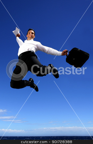 Overjoyed businessman jumping in the sky stock photo, Overjoyed businessman jumping in the sky by photography33
