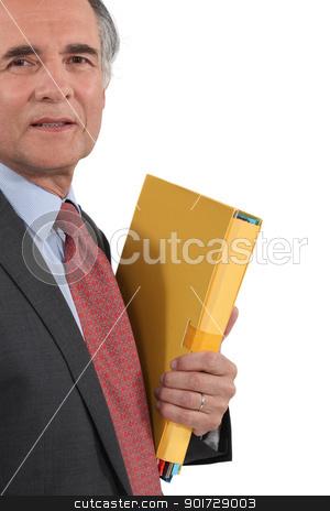 senior businessman holding files isolated on white stock photo, senior businessman holding files isolated on white by photography33