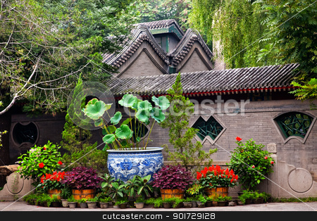 Garden Walls Porcelain Pot Former Residence of Soong Ching-Ling  stock photo, Garden Walls Porcelain Pot Former Residence of Soong Ching-Ling, Wife of Sun Yat-Sen, Beijing China. by William Perry
