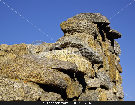 Stone Wall stock photo, Natural stone wall at Yosemite National Park by emattil