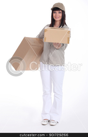 Young deliverer of packages stock photo, Young deliverer of packages by photography33