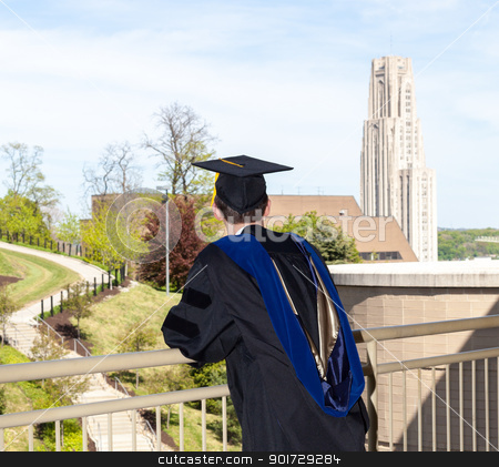 Graduate of UPitt in Pittsburgh stock photo, Doctoral graduate looking toward Cathedral of Learning at University of Pittsburgh by Steven Heap