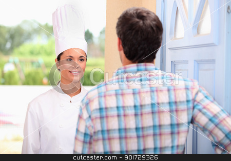Chef on doorstep stock photo, Chef on doorstep by photography33