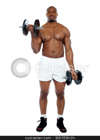 Muscular man exercising with dumbbells stock photo, Muscular man exercising with dumbbells isolated against white background by Ishay Botbol