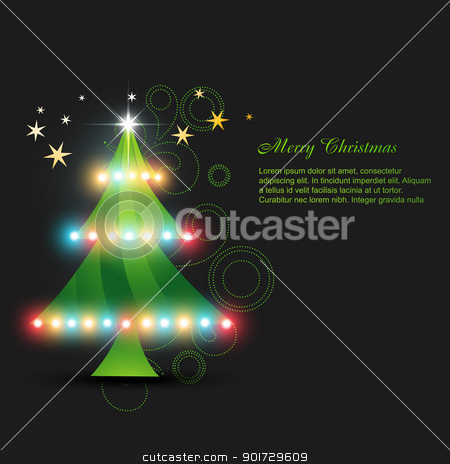 vector glowing christmas tree stock vector clipart, vector glowing christmas tree design by pinnacleanimates