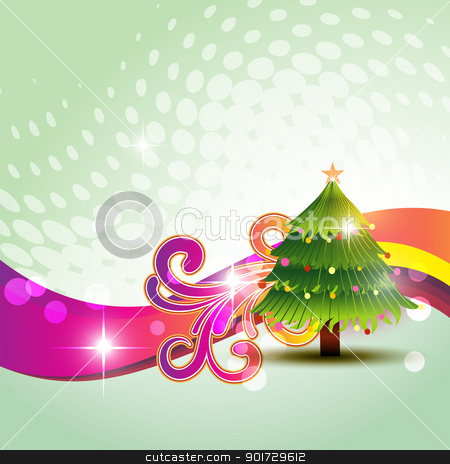 christmas background stock vector clipart, vector christmas tree on artistic background by pinnacleanimates
