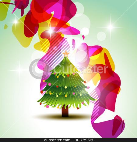 vector christmas tree stock vector clipart, christmas tree on colorful background. Fulll editable vector illustration by pinnacleanimates