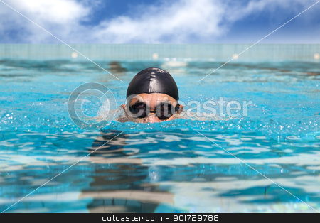 man in the Swimming pool with breast stroke stock photo, man in the Swimming pool with breast stroke by tomwang