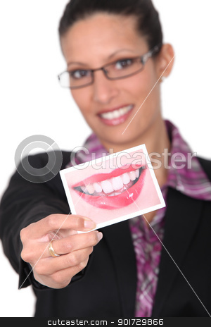 Woman showing smiling mouth image stock photo, Woman showing smiling mouth image by photography33