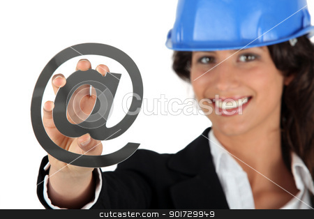 Architect holding at symbol stock photo, Architect holding at symbol by photography33