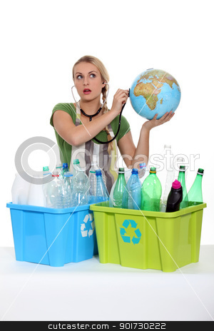 portrait of a woman with plastic bottles stock photo, portrait of a woman with plastic bottles by photography33