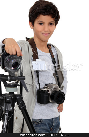 little boy acting like a professional photographer stock photo, little boy acting like a professional photographer by photography33