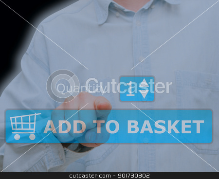 Add to Basket Button stock photo, Hand Pushing Download Button on Touch Screen by JAMDesign