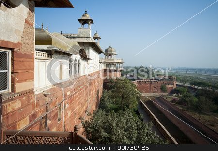 Agra Fort in India stock photo, Red Fort in Agra, Uttar Pradesh, India  by johnnychaos