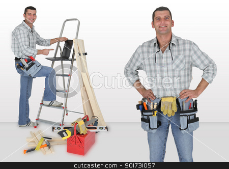 Carpenter stood with ladder stock photo, Carpenter stood with ladder by photography33