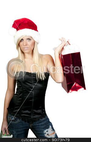 Christmas Shopping stock photo, A beautiful young woman wearing a Santa hat by Robert Byron