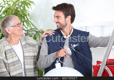 Senior with handyman stock photo, Senior with handyman by photography33