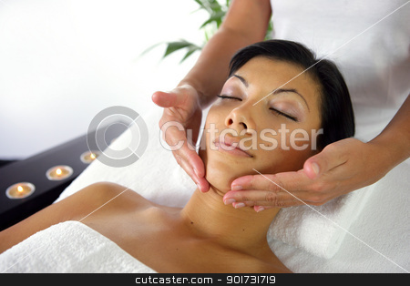 Woman receiving a massage stock photo, Woman receiving a massage by photography33