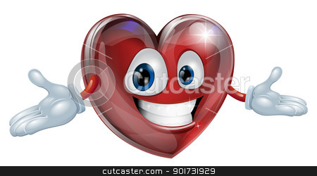 Heart cartoon man illustration stock vector clipart, Illustration of a cute smiling heart cartoon man character by Christos Georghiou