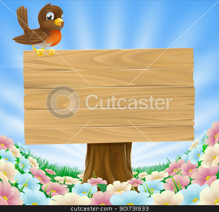 Bird on wooden sign background stock vector clipart, A cute cartoon robin bird sitting on a wood sign in a field of pretty flowers by Christos Georghiou