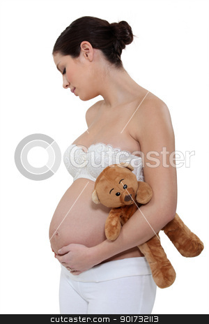 pregnant woman holding a teddy bear stock photo, pregnant woman holding a teddy bear by photography33