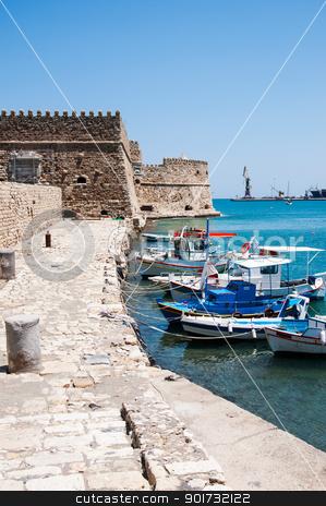 Chania pier stock photo, Historical old rock pier in Chania, Crete by Nanisimova