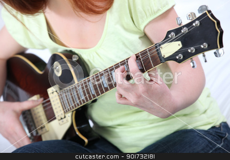 Playing the electric guitar stock photo, Playing the electric guitar by photography33
