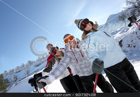 Four friends skiing stock photo, Four friends skiing by photography33