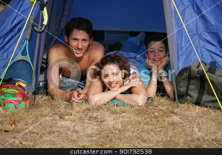 Family on a camping trip stock photo, Family on a camping trip by photography33