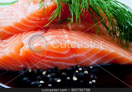Salmon with black pepper and dill on plate stock photo, Salmon with black pepper and dill close up by Nanisimova