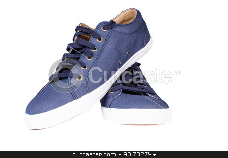 Blue sneakers isoated  stock photo, Blue sneakers isoated on white background by Nanisimova