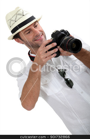 man with DSLR camera stock photo, man with DSLR camera by photography33