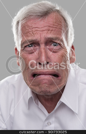Frightened old man stock photo, Old nice man scared witless. Afraid of retirement by Fotograf Moller Thomsen