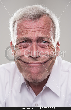 Funny Senior stock photo, A funny retired senior with wide mouth. by Instudio 68